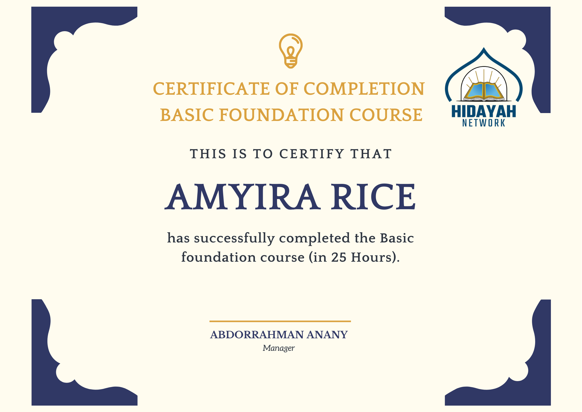 Certificate of completion basic foundation course of Arabic language