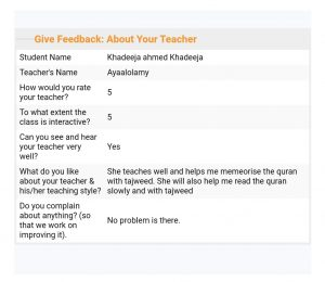 feedback about our online hifz teachers
